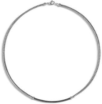 """John Hardy Sterling Silver Classic Chain Lava Station Mini Chain Necklace with Black Sapphire, 18"""""""