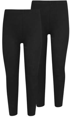 George Girls Black School Leggings 2 Pack