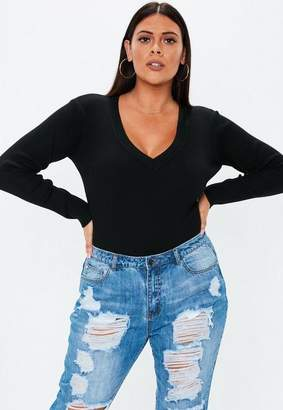 Missguided Plus Size Black Ultimate Plunge Knit Bodysuit