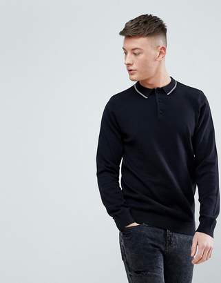 New Look Long Sleeve Polo With Contrast Collar In Black