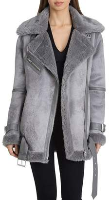 AVEC LES FILLES Oversized Faux Shearling Moto Jacket