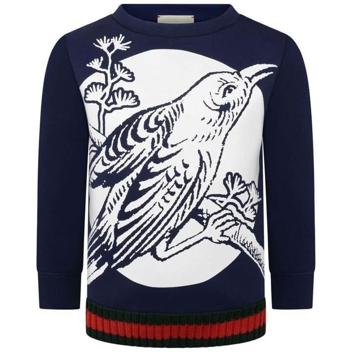 GUCCINavy Neoprene Bird Sweater
