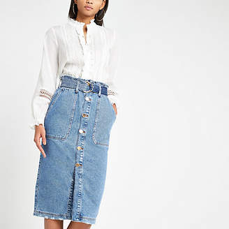 River Island Blue utility denim midi skirt