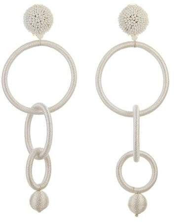 Oscar de la Renta White Triple Hoop Earrings