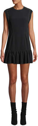 Derek Lam 10 Crosby Sleeveless Ruffle-Hem Mini Dress with Topstitching