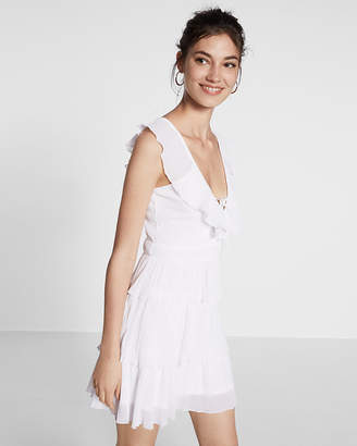 Express Lace-Up Ruffle Fit And Flare Dress