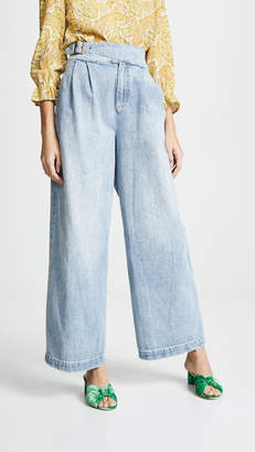 Free People Side Buckle Wide Leg Jeans