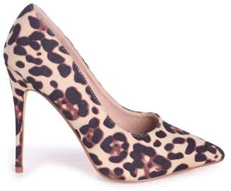 Linzi Aston Natural Leopard Suede Classic Pointed Court Heel