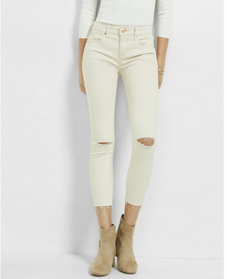 Express ivory mid rise raw hem ankle jean legging $79.90 thestylecure.com