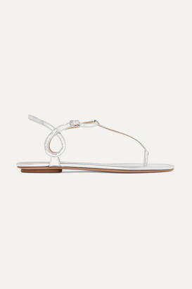 Aquazzura Almost Bare Metallic Leather Sandals - Silver