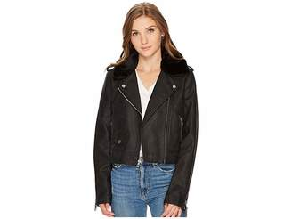 Levi's Asymmetrical Banded Bottom Moto with Sherpa Collar