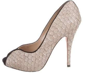 Jean-Michel Cazabat Fish Skin Peep-Toe Pumps