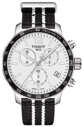 Tissot Men's NBA San Antonio Spurs Quickster Chronograph NATO Strap Watch, 42mm