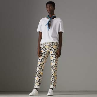 Burberry Daisy Print Cotton Tailored Trousers