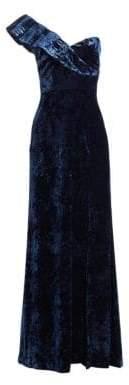 ML Monique Lhuillier One Shoulder Velvet Gown