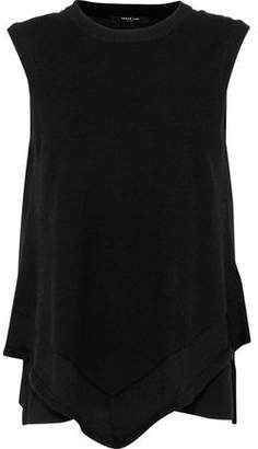 Derek Lam Layered Georgette-Paneled Cashmere And Silk-Blend Top