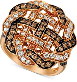 LeVian Le Vian Chocolatier Diamond Weave Statement Ring (1-1/3 ct. t.w.) in 14k Rose Gold
