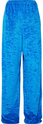Balenciaga Crushed-velvet Wide-leg Pants - Blue