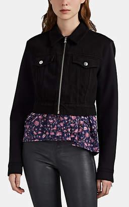 J Brand Women's Mixed-Media Trucker Jacket - Black