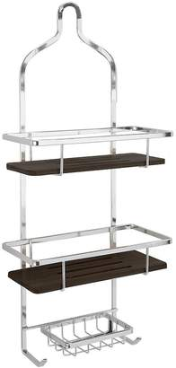 Laura Ashley Bamboo Shelf & Chrome Finish Shower Caddy