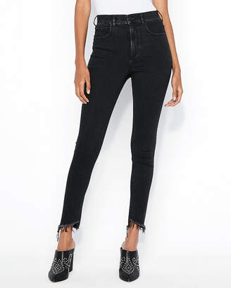 Express Petite Super High Waisted Black Denim Perfect Ankle Jean Leggings