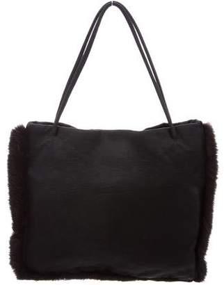 Prada Fur-Trimmed Handle Bag