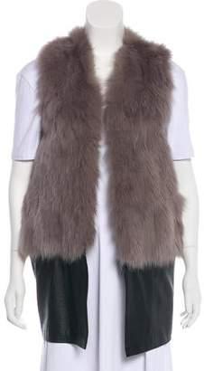 Ramy Brook Fox-Fur Leather-Trimmed Vest
