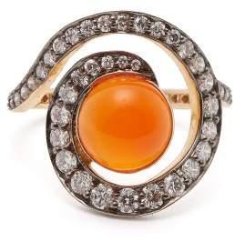 Noor Fares - Planet Carnelian & Diamond Spiral Ring - Womens - Orange