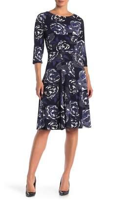 Sandra Darren Floral Printed 3\u002F4 Sleeve Dress