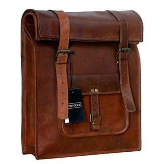 """Genuine Leather Men's Vintage Roll on Laptop Backpack 21"""" inch- Mens Casual Daypack School Bag Collage Bookbag Rucksack- Spacious Lightweight with Big zipper compartments ()"""
