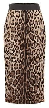 Dolce & Gabbana Leopard crêpe pencil skirt