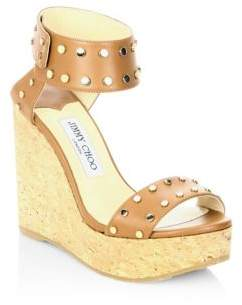 New arrival Sandals Jimmy Choo Nellie 100 WXW Studded Leather Cork Wedge Sandals Women's Shoes US Online