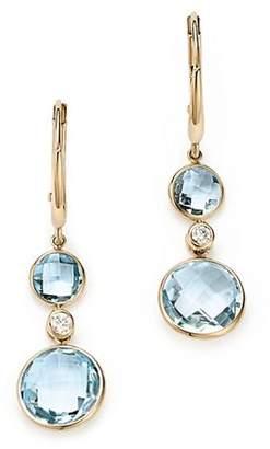 Olivia B 14K Yellow Gold Sky Blue Topaz & Diamond Bezel Drop Earrings - 100% Exclusive