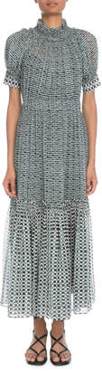 Proenza Schouler Mock-Neck Short-Sleeve Printed Crepe Chiffon Long Dress