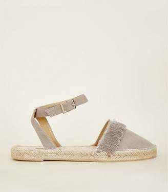 New Look Girls Grey Fringed Two Part Espadrilles