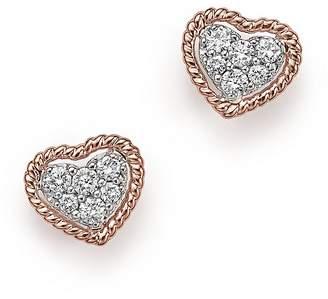 Bloomingdale's Diamond Pavé Heart Stud Earrings in 14K Rose Gold, .20 ct. t.w.