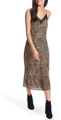 1 STATE 1.STATE Leopard Muse Lace Trim Slipdress