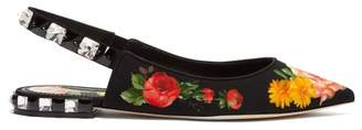 Dolce & Gabbana Floral Print Crystal Embellished Twill Flats - Womens - Black Multi