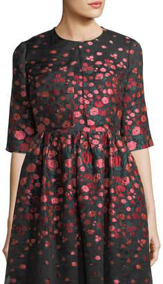 Lela Rose Cropped Floral Brocade Jacket