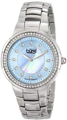 Burgi Women's BUR093BU Silver Crystal Accented Swiss Quartz Watch with Blue Mother of Pearl Dial and Silver Bracelet