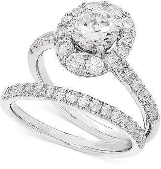 Lab Grown Diamond Halo Bridal Set (2 ct. t.w.) in 14k White Gold