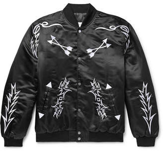 Rhude Embroidered Satin Bomber Jacket