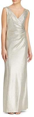 Lauren Ralph Lauren Metallic V-Neck Jersey Gown