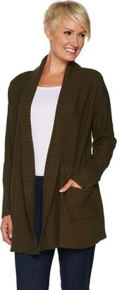 Halston H By H by Mix Stitch Ribbed Open Front Cardigan