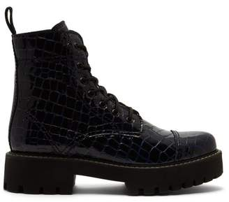 ALEXACHUNG Crocodile Effect Leather Boots - Womens - Navy