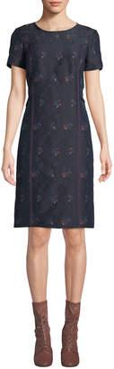 Carolina Herrera Crewneck Short-Sleeve Floral-Print Sheath Dress