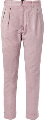 Officine Generale Light-Pink Tapered Cotton And Linen-Blend Trousers