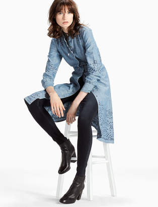 Lucky Brand MIDI CHAMBRAY DRESS WITH EMBROIDERED EYELET