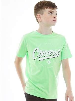 Converse Junior Boys Script Lock Up T-Shirt Illusion Green