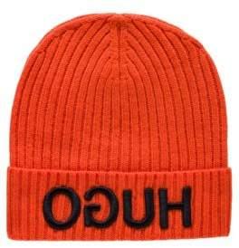 HUGO Wool beanie with turnback hem and reversed logo